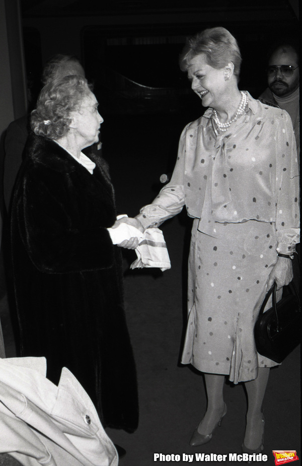Lillian Gish and Angela Lansbury attend the Theatre Hall Of Fame Awards held on March 28, 1982 at the Uris Theater, now called the Gershwin Theater, New York City.