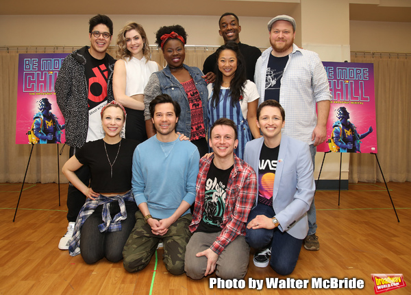 """George Salazar, Lauren Marcus, Katlyn Carlson, Jason Tam, Tiffany Mann, Gerard Canonico, Stephanie Hsu, Britton Smith, Will Roland and Jason SweetTooth Williams during the """"Be More Chill"""" Press Preview Presentation at Pearl Studios on January 23, 2019 in"""