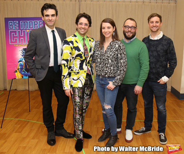 "The creative team: songwriter Joe Iconis, choreographer Chase Brock, musical director Emily Marshall, director Stephen Brackett, and book writer Joe Tracz during the ""Be More Chill"" Press Preview Presentation at Pearl Studios on January 23, 2019 in New Yo"