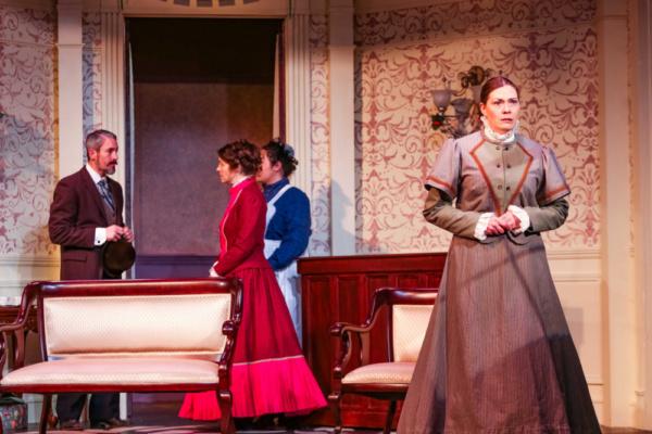 Krogstad (Jason Sharp), Nora (Annie Katica Green), Helene (Marleyne Hernandez) & Christine (Kristen Moriarty)