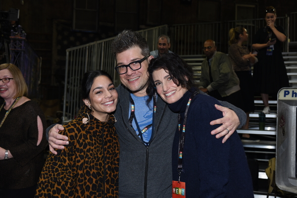 Vanessa Hudgens, music director Stephen Oremus and Idina Menzel