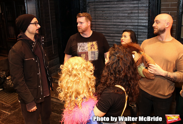 "Kevin Richardson from the Backstreet Boys backstage with the cast members Nick Kohn, Grace Choi and Michael Liscio Jr. of  ""Avenue Q""  at the New World Stages on January 27, 2019 in New York City."
