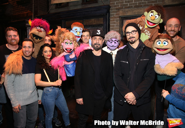 "Howie Dorough, AJ McLean and Kevin Richardson from the Backstreet Boys backstage with the cast of  ""Avenue Q""  at the New World Stages on January 27, 2019 in New York City."