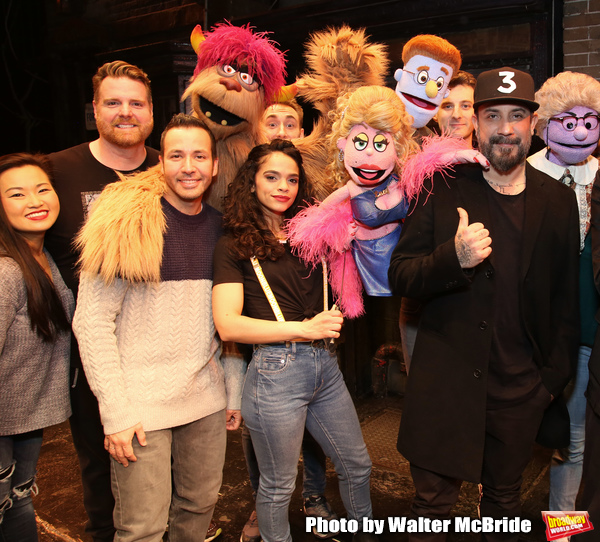 """Howie Dorough and  AJ McLean from the Backstreet Boys backstage with  the cast of  """"A Photo"""