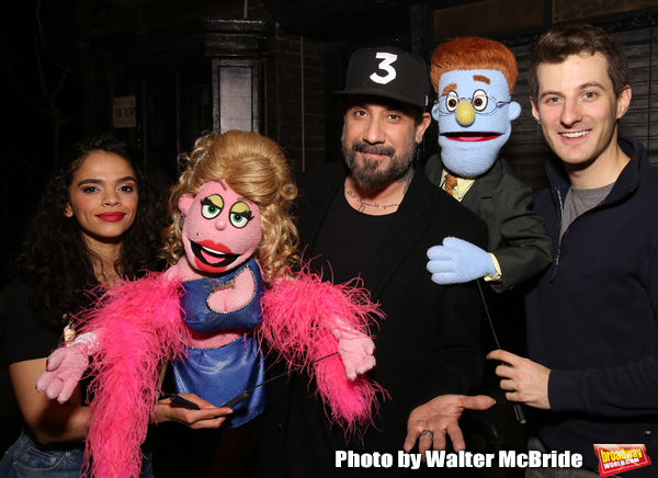 "AJ McLean from the Backstreet Boys backstage with Gizel Jimenez and Matt Dengler from the cast of  ""Avenue Q""  at the New World Stages on January 27, 2019 in New York City."