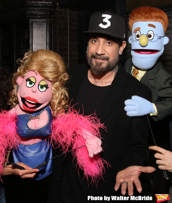 "AJ McLean from the Backstreet Boys backstage with  the cast of ""Avenue Q""  at the New Photo"