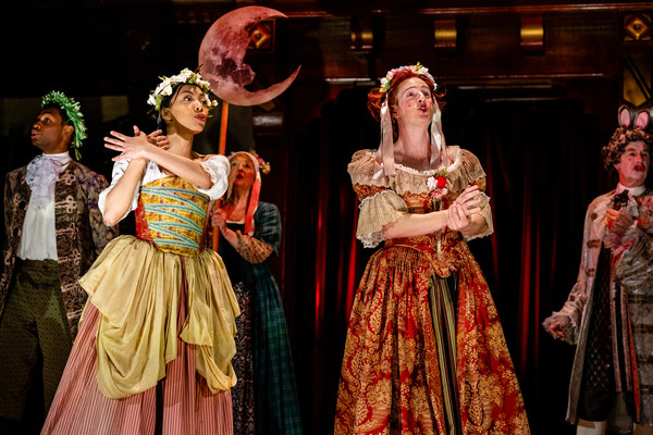 The King's Company in performance in the Restoration-era comedy Nell Gwynn
