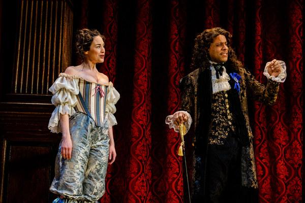 """Nell Gwynn (Alison Luff) entertains a new fanâ€""""King Charles II (R.J. Foster)"""