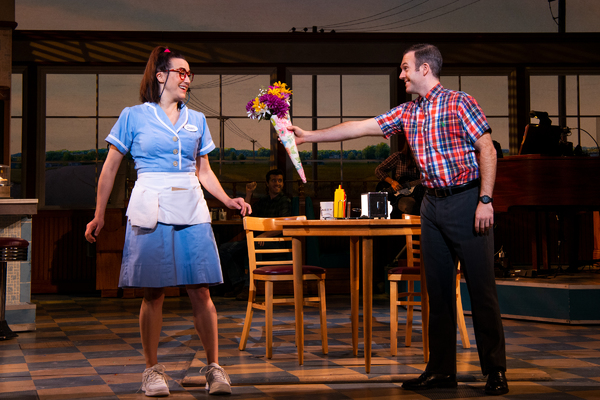 Jessie Shelton and Jeremy Morse in the national tour of WAITRESS.   Photo credit: Phi Photo