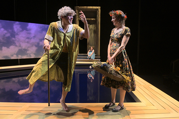 "Benjamin T. Ismail and Louise Lamson (foreground, l to r) with Suzy Weller (background) in ""Metamorphoses� at Berkeley Rep. Photo courtesy of Kevin Berne/Berkeley Repertory Theatre"