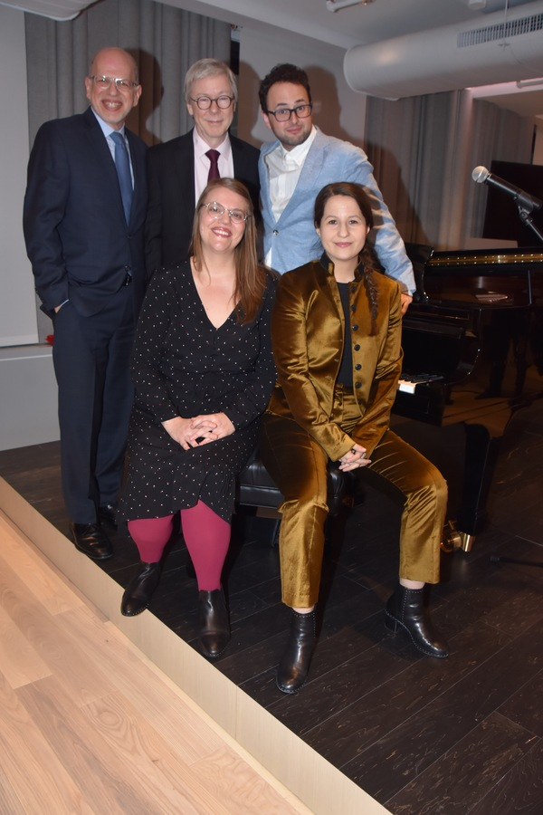 2019 Kleban Prize Winners for Musical Theatre-Sarah Hammond, Charlie Sohne and Shaina Taub with tonights hosts-Seth Saltzman (Senior Vice President of ASCAP) and Patrick Cook (Director of Musical Theatre and Jazz, BMI)