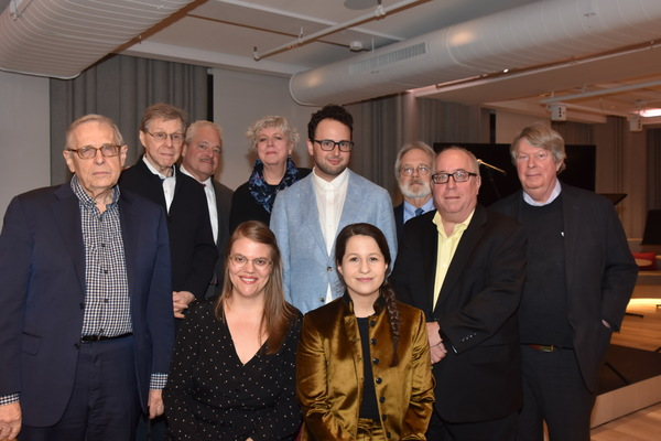 2019 Kleban Prize Winners for Musical Theatre-Sarah Hammond, Charlie Sohne and Shaina Taub with Members of the Kleban Foundation Board of Directors-Richard Maltby Jr., Maury Yeston, Elliott Brown, Sarah Douglas, John Weidman, Richard Terrano and Andre Bis