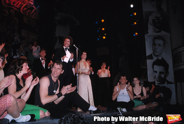 producer Ken Waissman and partner Maxine Fox, Barry Bostwick, Jeff Conaway & Candice Earley on stage December 2, 1979 as Grease passed Fiddler on the Roof as Broadway's longest running show with its 3243rd performance at the Royale Theatre  in New York Ci