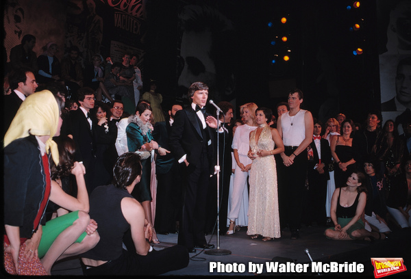 Barry Bostwick, Jeff Conaway & Candice Earley with ensemble on stage December 2, 1979 as Grease passed Fiddler on the Roof as Broadway's longest running show with its 3243rd performance at the Royale Theatre  in New York City.