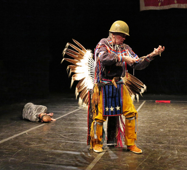"Foreground: Allan Shooting Star (Lenape) and (behind) Michael Taylor-Dancing Wolf (Choctaw/French) in premiere performance February 1, 2019 of ""Silent Echoes of Time,"" a tribute to Vietnam Veterans, choreographed by Michael Taylor-Dancing Wolf (Choctaw/F"