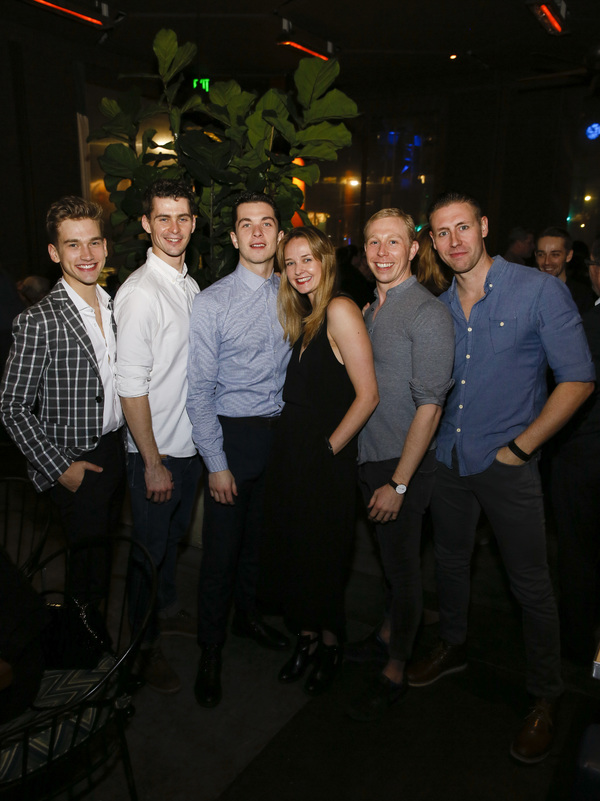From left, company members Jackson Fisch, Matt Petty, Reece Causton, Daisy May Kemp, Danny Reubens and Daniel Wright