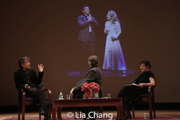 David Henry Hwang, Bartlett Sher and Karen Shimakawa discuss a scene from SOFT POWER featuring Conrad Ricamora and Alyse Alan Louis