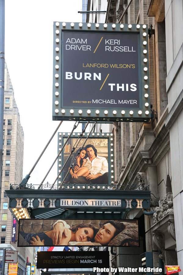 """""""Burn/This"""" starring Adam Driver and Keri Russell Theatre Marquee at the Hudson Theat Photo"""