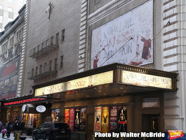 "Theatre Marquee unveiling for the Taylor Mac Comedy ""Gary: A Sequel to Titus Andronicus"" starring Nathan Lane and Andrea Martin with direction by George C. Wolfe and art work by Ralph Steadman at the Booth Theatre on February 8, 2019 in New York City."