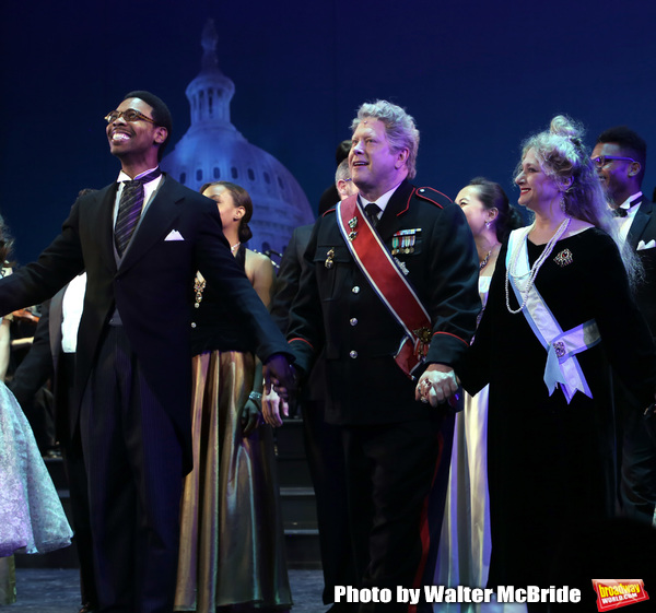 Michael Benjamin Washington, Darrell Hammond and Carol Kane during the Curtain Call for the closing Night performance of  Encores! ''Call Me Madam'' at City Center on February 10, 2019 in New York City.