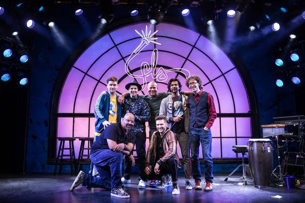 James Monroe Iglehart, Andrew Bancroft. Second row: Chris Sullivan, Anthony Veneziale, Christopher Jackson, Utkarsh Ambudkar, Arthur Lewis