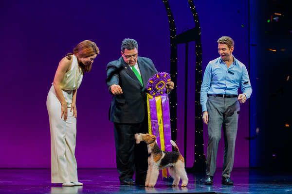 Anna Eilinsfeld, King and his handler, and Andy Karl