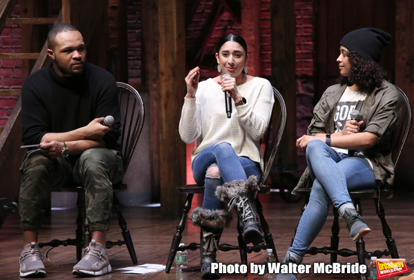Sean Green Jr., Lauren Boyd and Sasha Hollinger during the ''Hamilton'' eduHAM Student Matinee Q & A  at the Richard Rodgers Theatre on February 13, 2019 in New York City.