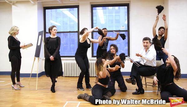 Dana Costello, Laura Osnes and Tony Yazbeck with cast