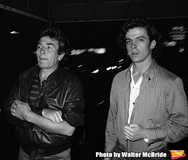 Albert Finney and Michael O'Keefe take in a Broadway Show in New York City. September 30, 1981
