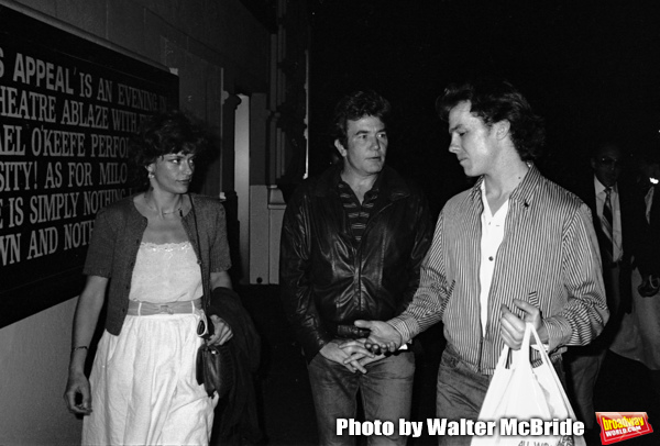 Albert Finney, Michael O'Keefe and Janet Suzman take in a Broadway Show in New York City. September 30, 1981