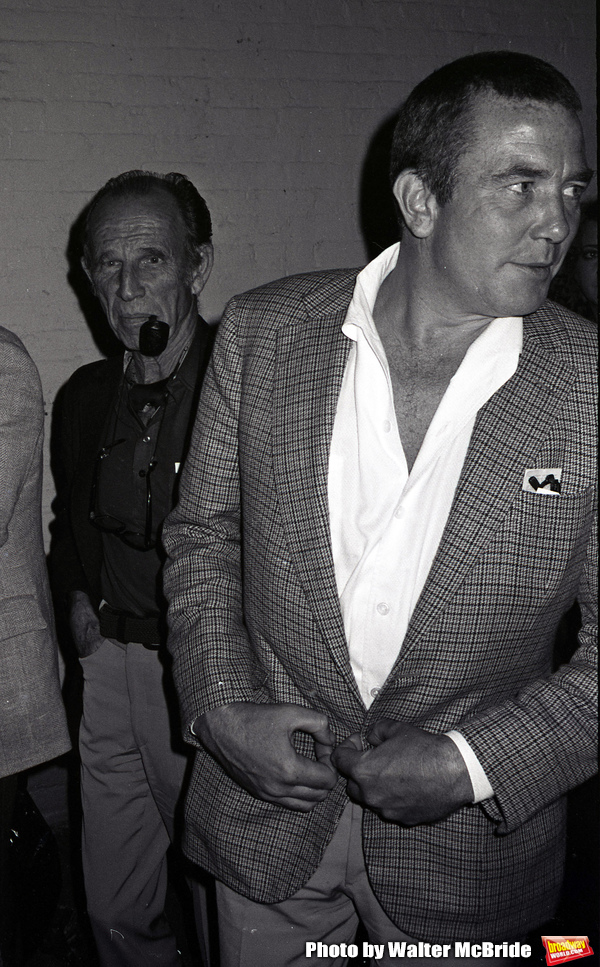 Hume Cronyn and Albert Finney attend a Broadway show  on May 1, 1983 in New York City.