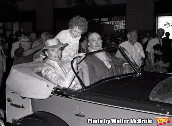 Ann Reinking, Aileen Quinn and Albert Finney during the filming of 'Annie' on location at Radio City Music Hall on May 1, 1982  in New York City.