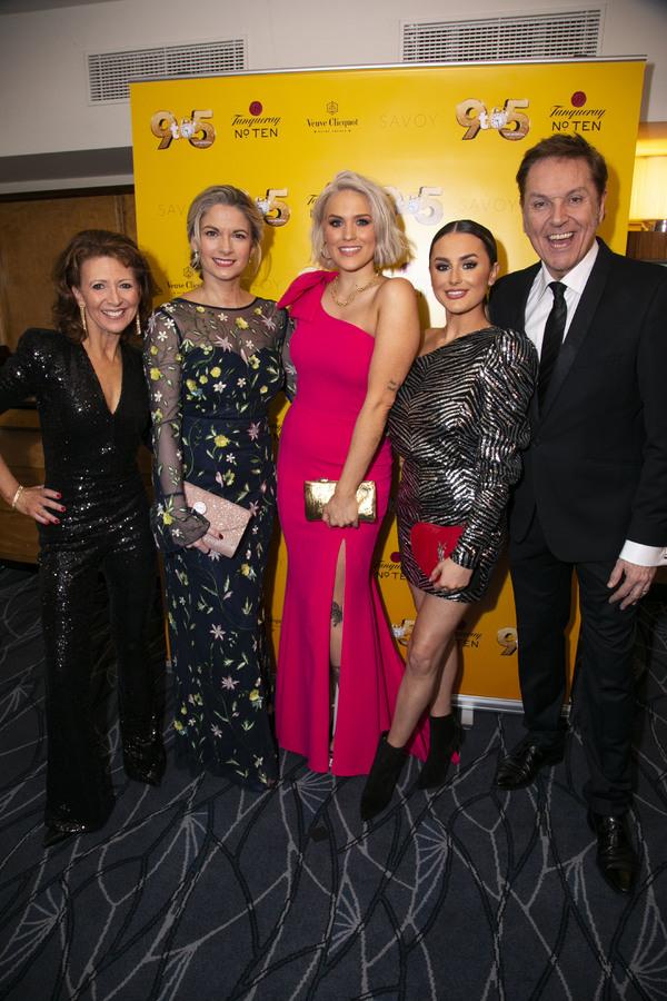 Bonnie Langford (Roz Keith), Caroline Sheen (Violet Newstead), Natalie McQueen (Doralee Rhodes), Amber Davies (Judy Bernly) and Brian Conley (Franklin Hart)