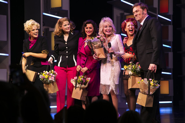 Natalie McQueen (Doralee Rhodes), Caroline Sheen (Violet Newstead), Amber Davies (Judy Bernly), Dolly Parton (Music/Lyrics), Bonnie Langford (Roz Keith) and Brian Conley (Franklin Hart) during the curtain call