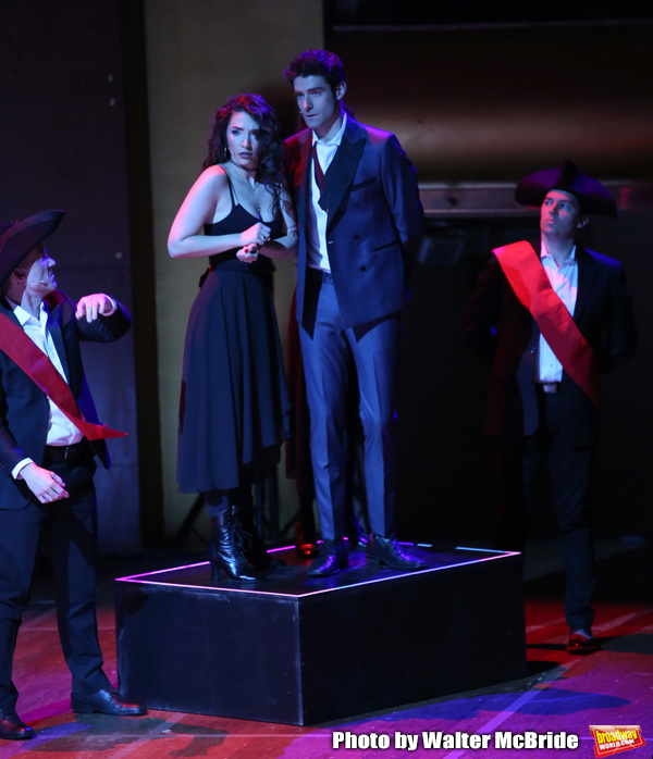 Ashley Loren and Drew Gehling with cast