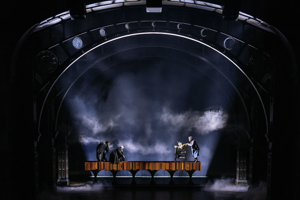 Sam Clemmett as Albus Potter, Anthony Boyle as Scorpius Malfoy and Geraldine Hughes as Trolley Witch