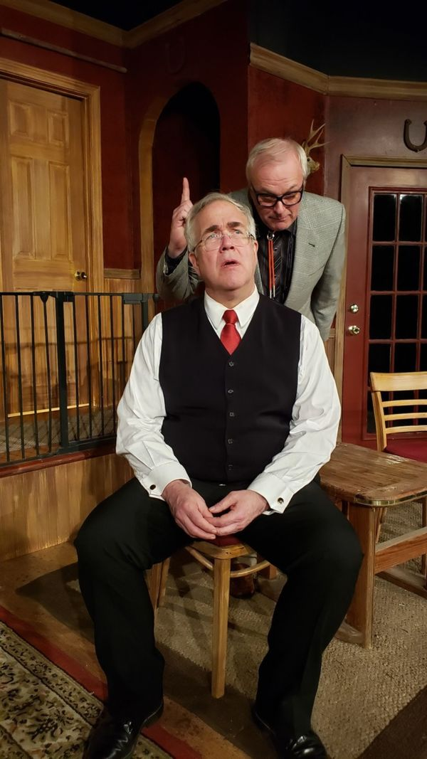 Rick Bagley as Jarvis the butler (seated) and W. Richard Johnson as Mr. Oakfield the  Photo