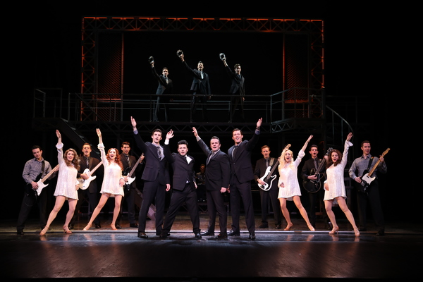 Finale  (l to r) Eric Chambliss, Jonny Wexler, Corey Greenan, Jonathan Cable and the Company of JERSEY BOYS. Photo: Joan Marcus