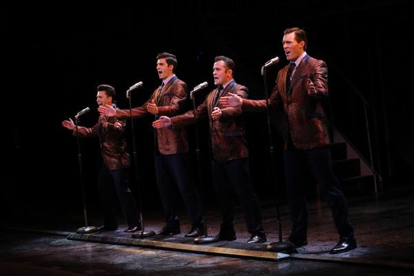 Walk Like a Man  (l to r) Jonny Wexler, Eric Chambliss, Corey Greenan and Jonathan Cable Photo: Joan Marcus