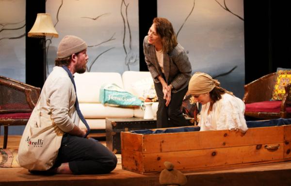Michael Rabe, Jan Leslie Harding & Bernadette Quigley in DYING IN BOULDER. Photo by Carlos Cardona.