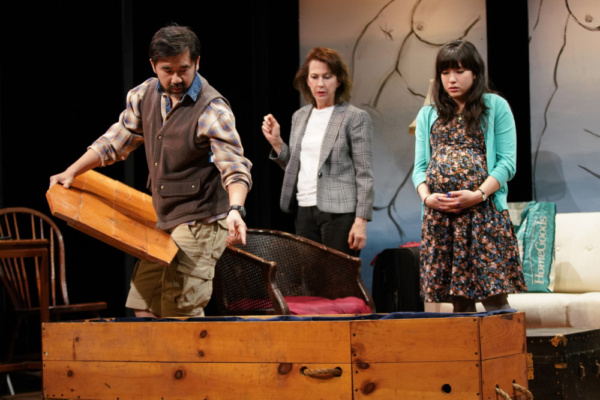 Fenton Li, Jan Leslie Harding & Mallory Ann Wu in DYING IN BOULDER. Photo by Carlos Cardona.