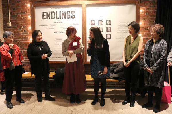Director Sammi Cannold (center) toasts Playwright Celine Song