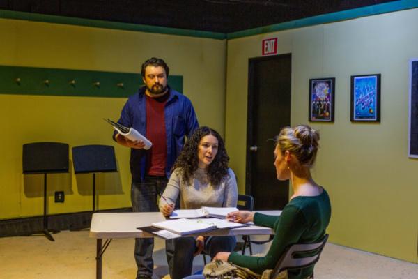 Kirk Gostkowski, Amanda Martinez, and Christina Elise Perry in rehearsal for SIX CORNERS with Keith Huff