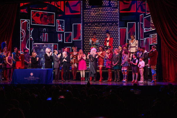 Abbe Raven, Anthea M. Hartig, Jerry Mitchell, Daryl Roth, Cydni Lauper, and the Cast of KINKY BOOTS