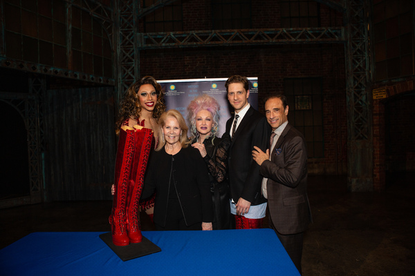 Callum Francis, Daryl Roth, Cyndi Lauper, Andy Kelso, and Jerry Mitchell
