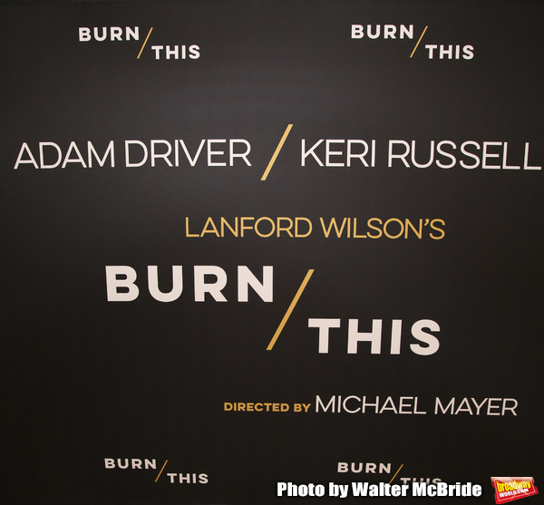 Adam Driver, Keri Russell, David Furr and Brandon Uranowitz attend the ''Burn This'' cast photo call at the New 42nd Street Studios on March 7, 2019 in New York City.