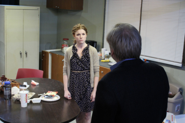 Una (Betsy Bowman) stands up to Ray (Jim Poole) Photo