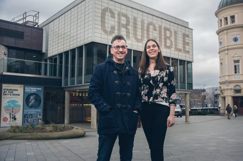 Chris Bush and X outside Sheffield's Crucible Theatre