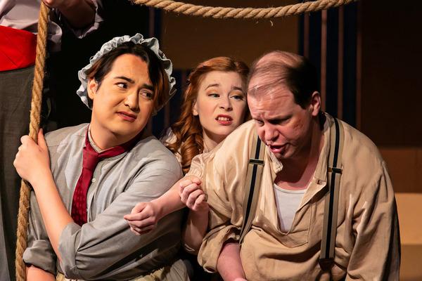 Round is a shape. Sebastian Adams (Mrs. Bumbrake,) Meg Pace (Molly Aster,) & David Zolotarchuk (Alf.)