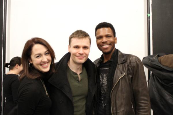 Photo of Kelley Curran (Clytemnestra), Josiah Bania (Orestes) and Corey Allen (Chorus) in rehearsal for The Oresteia.